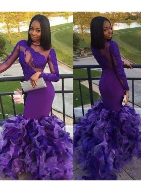 2021 Elegant Long Sleeves Lilac Mermaid Prom Dresses