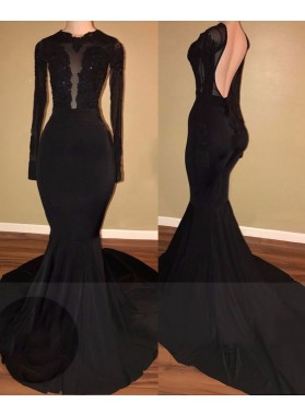 2019 Unique Black Long Sleeves Mermaid Backless Prom Dresses