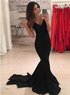 2020 Black Spaghetti Straps Mermaid Prom Dresses