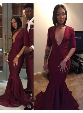 2020 Burgundy Sexy V-neck Mermaid Prom Dresses