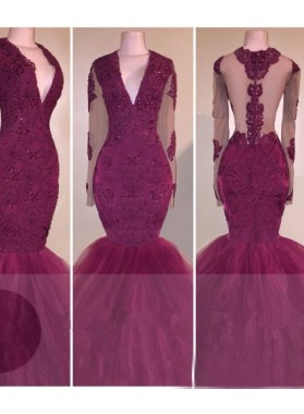 2021 Long Sleeves V-neck Appliques Burgundy Prom Dresses