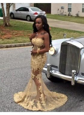 2019 Light Yellow Lace Mermaid Prom Dresses