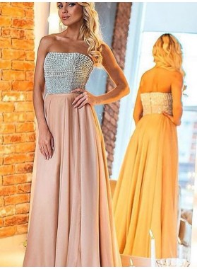 Prom Dresses Strapless Beading Backless A-Line/Princess Chiffon