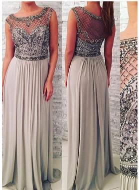 Illusion Beading Chiffon Silver Prom Dresses