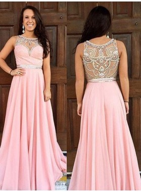 Prom Dresses 2019 Glamorous Pink Round Neck Crystal Sleeveless A-Line/Princess Chiffon