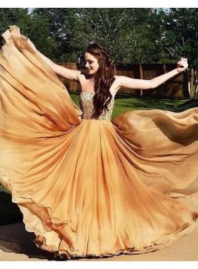Sweetheart Crystal Layers A-Line/Princess Chiffon Champagne Prom Dresses