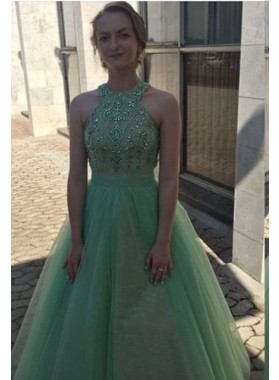 Beading Ball Gown Tulle Sage Green Prom Dresses