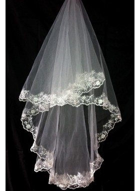 Very Nice Elbow Wedding Veil With Embroidery
