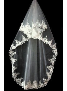 Very Nice Wedding Veil With Embroidery