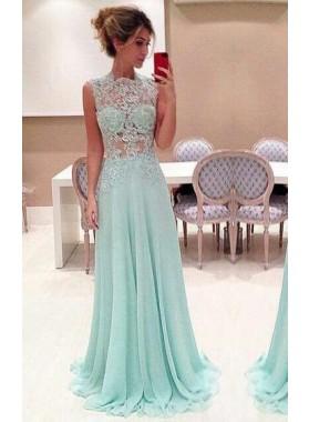 Beading Floor-Length/Long A-Line/Princess Chiffon LadyPromDress 2019 Blue Prom Dresses