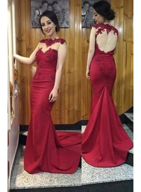Burgundy Appliques Open Back Mermaid/Trumpet Satin Prom Dresses