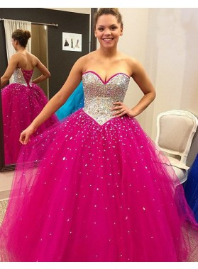 Beading Lace-up Back Ball Gown Tulle Prom Dresses
