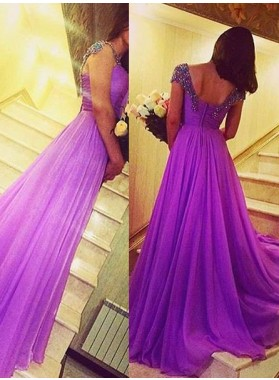Capped Sleeves Beading Zipper A-Line/Princess Chiffon Prom Dresses