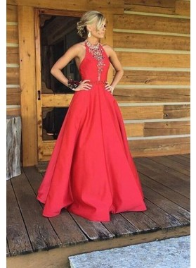 2019 Gorgeous Red Beading Halter A-Line/Princess Satin Prom Dresses