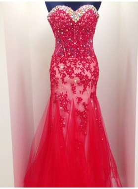 2019 Gorgeous Red Beading Appliques Mermaid/Trumpet Tulle Prom Dresses