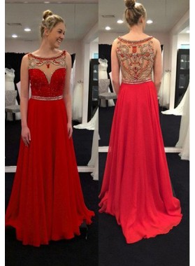 2019 Gorgeous Red Sheer Beaded Back Chiffon Prom Dresses