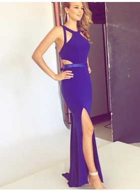 LadyPromDress 2018 Blue Prom Dresses Sleeveless Zipper Beading Split Front