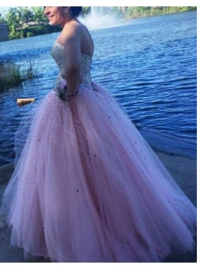 Beading Sweetheart Ball Gown Tulle Prom Dresses