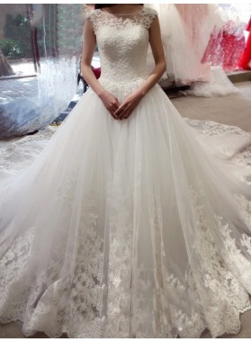 2020 Elegant A Line Tulle With Appliques Wedding Dresses With Long Train