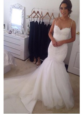 Charming Mermaid Sweetheart Spaghetti Straps Tulle Wedding Dresses 2021