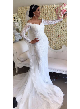 Elegant Sheath Off The Shoulder Long Sleeves 2021 Wedding Dresses