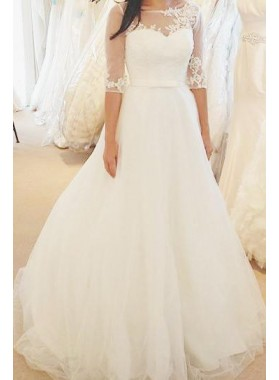 2021 Elegant A Line Half Sleeves Tulle Wedding Dresses