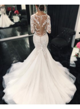 Sexy Mermaid Long Sleeves Sweetheart 2019 Wedding Dresses