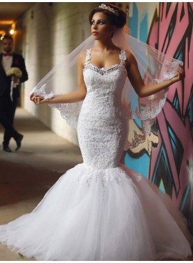2019 Sexy Mermaid Sweetheart Tulle With Appliques Beaded Wedding Dresses