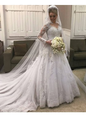 2019 Classic A Line Long Sleeves Sweetheart With Long Train Wedding Dresses