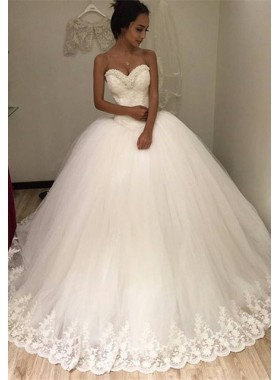 2020 Gorgeous Sweetheart Tulle With Lace Trim Ball Gown Wedding Dresses