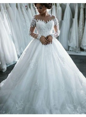 2019 Classic Long Sleeves Ball Gown Wedding Dresses With Appliques