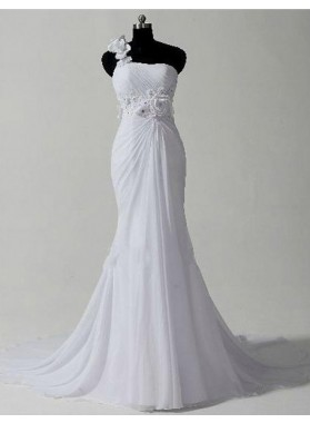 One Shoulder Chiffon Mermaid 2020 Chiffon Wedding Dresses With Flowers