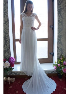 A Line Chiffon Beaded Bowknot Back Cheap Wedding Dresses