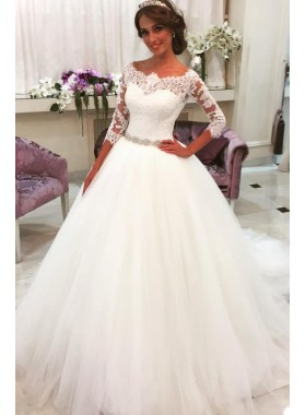 Princess Off The Shoulder Sleeves Tulle With Lace Ball Gown Wedding Dresses