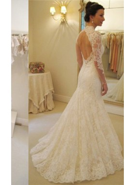 Charming Lace Sheath Long Sleeves Sweetheart 2020 Wedding Dresses