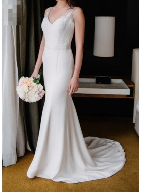 Elegant Sheath Satin V Neck Wedding Dresses With Belt