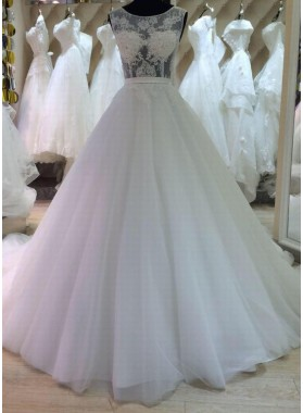 2020 New A Line Tulle Sweetheart Wedding Dresses