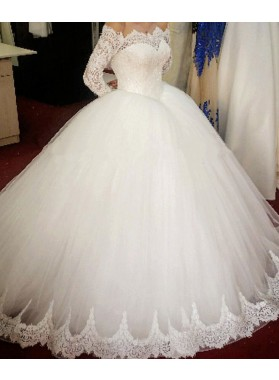 2021 New Arrival Off The Shoulder Long Sleeves Lace Ball Gown Wedding Dresses