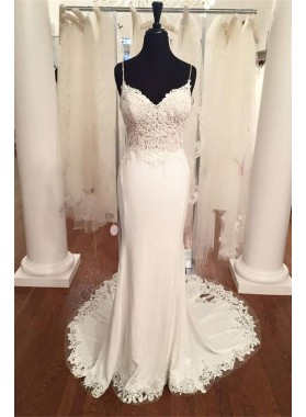 2021 Elegant Sheath Sweetheart Lace Spaghetti Straps Wedding Dresses