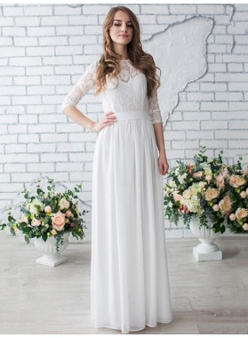 Cheap A Line Lace Chiffon Sleeves Wedding Dresses 2020
