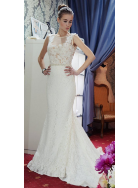 2021 Newly Sheath Lace Wedding Dresses With Small Train
