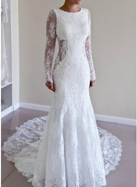 Backless Sheath Long Sleeves Scoop Lace 2021 Wedding Dresses