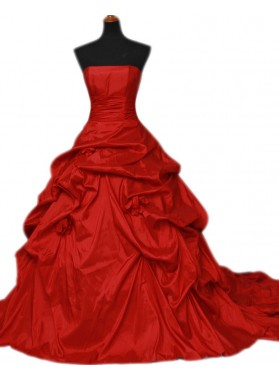 Red Strapless Taffeta Ruffles Ball Gown 2021 Wedding Dresses