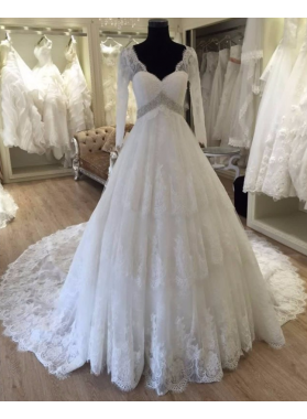 2020 Gorgeous A Line Long Sleeves V Neck Wedding Dresses Lace