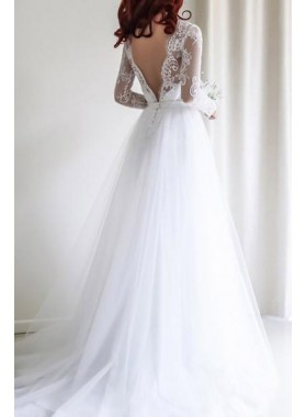 Cheap A Line Tulle Backless Long Sleeves 2019 Wedding Dresses