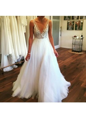 2020 Gorgeous A Line V Neck Backless Lace Tulle White Wedding Dresses