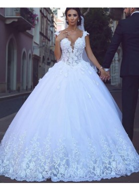 2021 White Sweetheart Ball Gown Wedding Dresses With Appliques