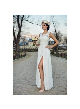 Cheap A Line Side Slit Chiffon Lace 2019 Wedding Dresses
