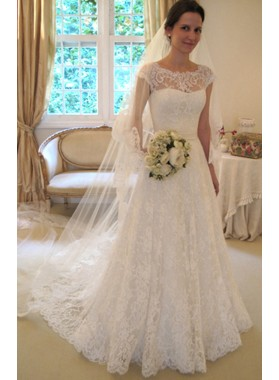 Elegant A Line Lace Long Train 2021 Wedding Dresses