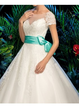 Classic A Line Capped Sleeves Tulle 2020 Wedding Dresses With Blue Belt